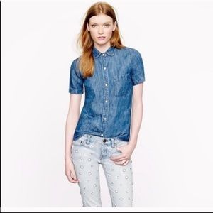 J Crew Chambray Collared Button Up Blouse